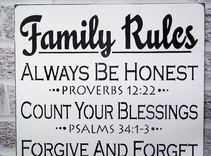 scripture family rules sign large bible andthesignsays