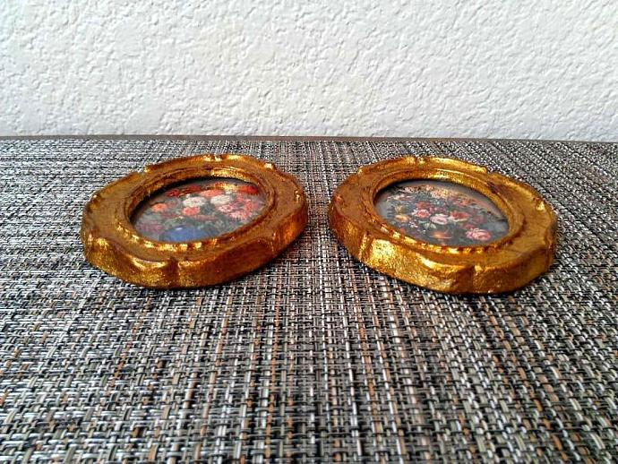 Vintage 1970s Italian Framed Wall Accent Pair