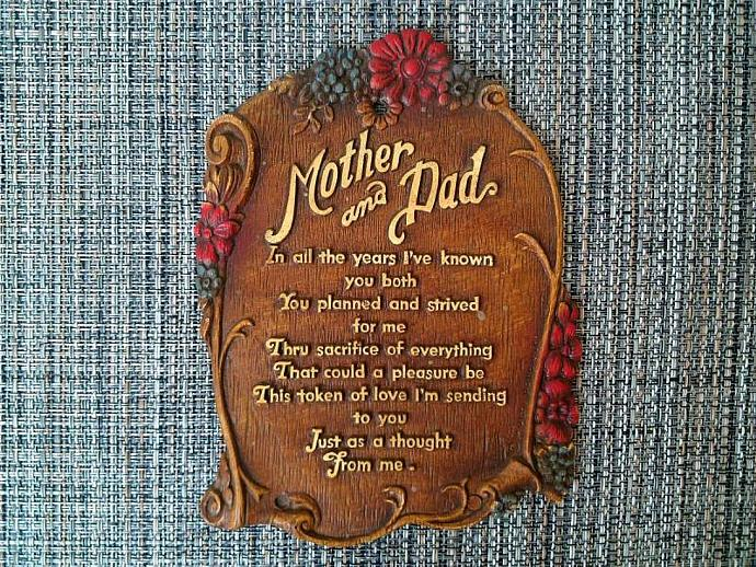 1950s multi prod mother dad poem wall plaque by zilvintage on zibbet