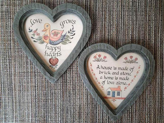 1987 Vintage Homco Heart Framed Wall Decor Set
