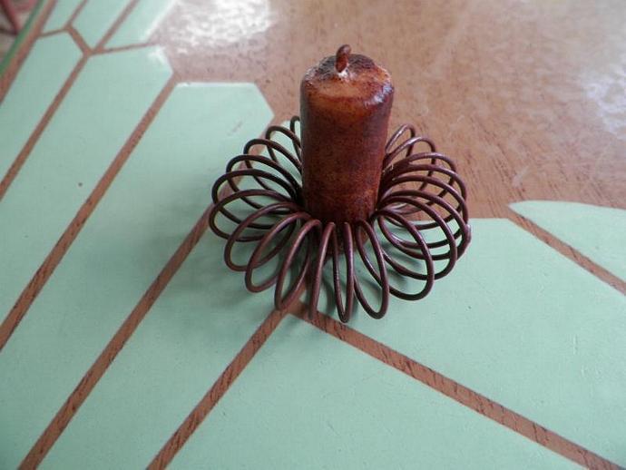 Vintage Flower Frog Prim Candle Holder