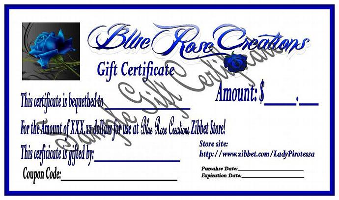 Blue Rose Creations - Lady Pirotessa - Gift Certificate - $50.00 - $50 - 50