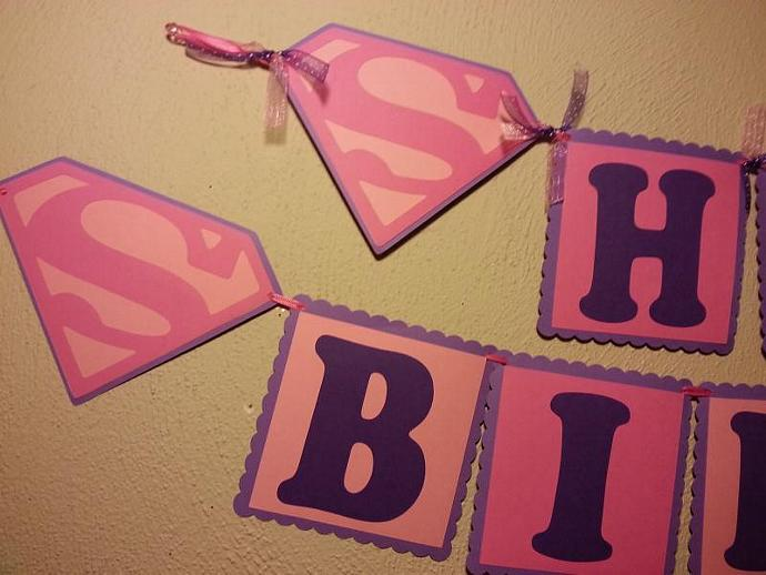 Very best SuperGirl Birthday Banner (Pink and Purple) by AllLayedOut on Zibbet UP13