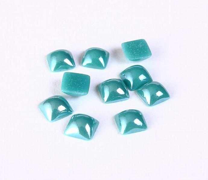 6mm teal plated pearlized finish square glass cabochon - Dome glass cabochon -