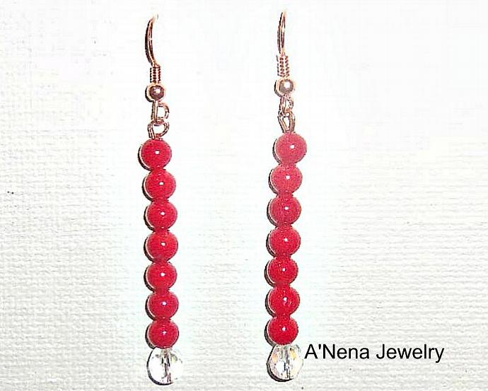 Earrings: Genuine Cherry Red Coral, Genuine Swarovski Elements Set On Copper