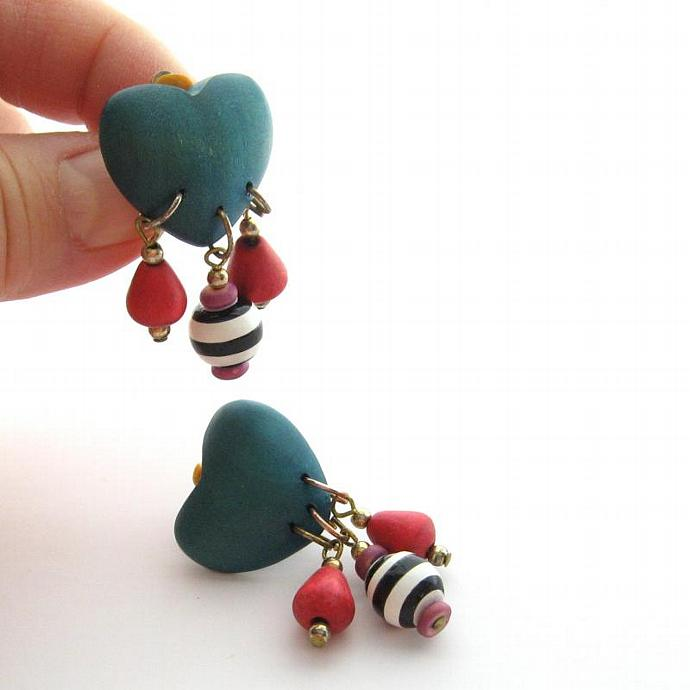 Vintage Clip Wooden Heart Earrings Color Block Teal Red Black Stripe Dangle