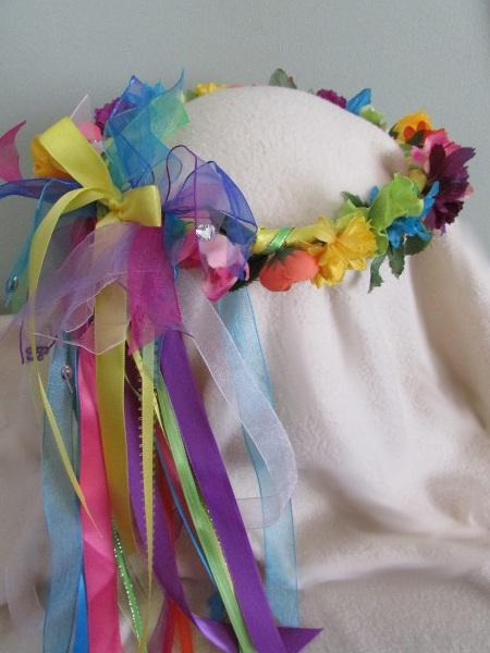 Floral Rainbow Crown-Silk Flowers/Yellow Bow/Child sz/Renaissance/Flower girl/