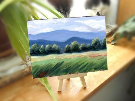 Vermont Scene Oil Painting Field and Mountains 5x7 Archival Panel