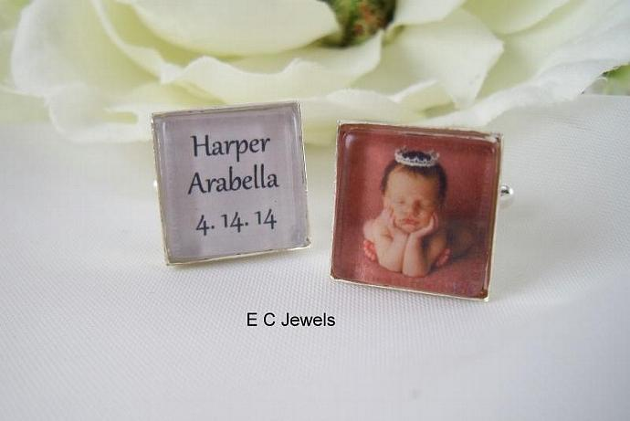 New Baby, Name and Date Photo Cufflinks