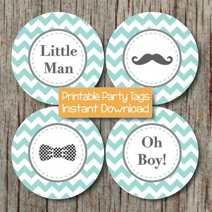 Little Man Bow Tie Mustache Baby Shower Oh Boy Cupcake Toppers Printable  Favor