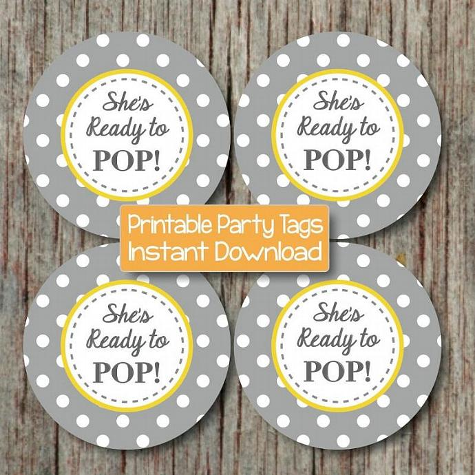 shes ready to pop baby shower party decorations yellow grey favor labels
