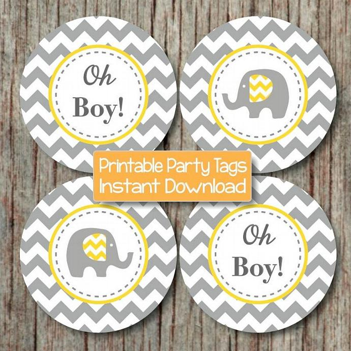 Yellow Grey Elephant Baby Shower Cupcake Toppers Oh Boy! Baby Shower Favor  Tags