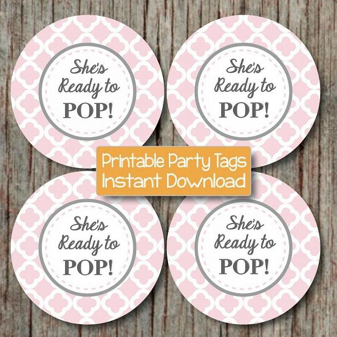 Shes Ready To Pop Baby Shower Printable Labels Gift Bags Party Tags Powder Pink