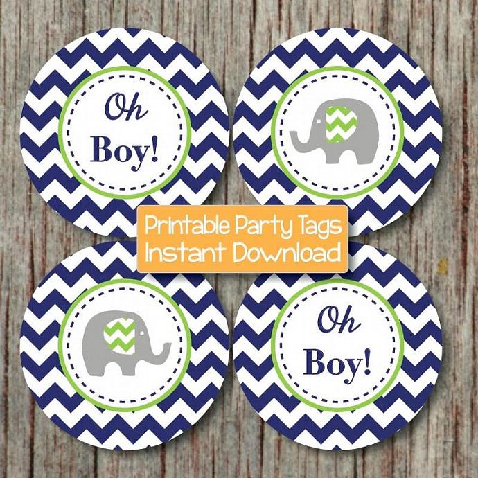 DIY Baby Shower Decorations Printable Cupcake Toppers Navy Blue Lime Green Oh