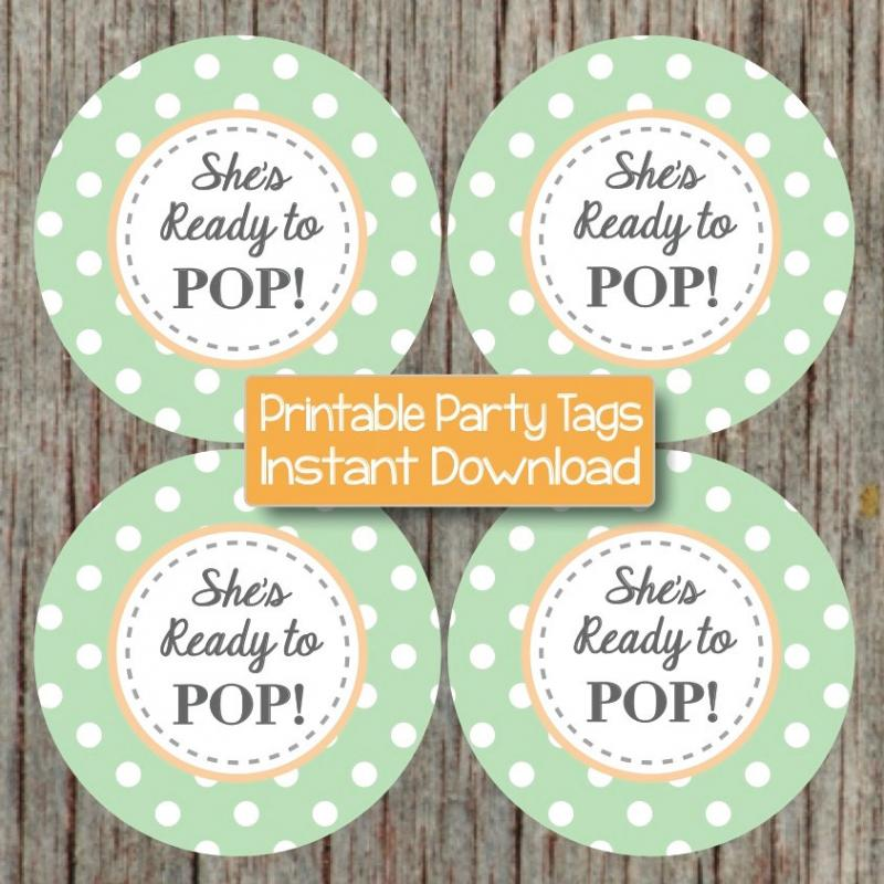 Baby Shower Party Favors Ready To Pop ~ Shes ready to pop sticker printable bumpandbeyonddesigns