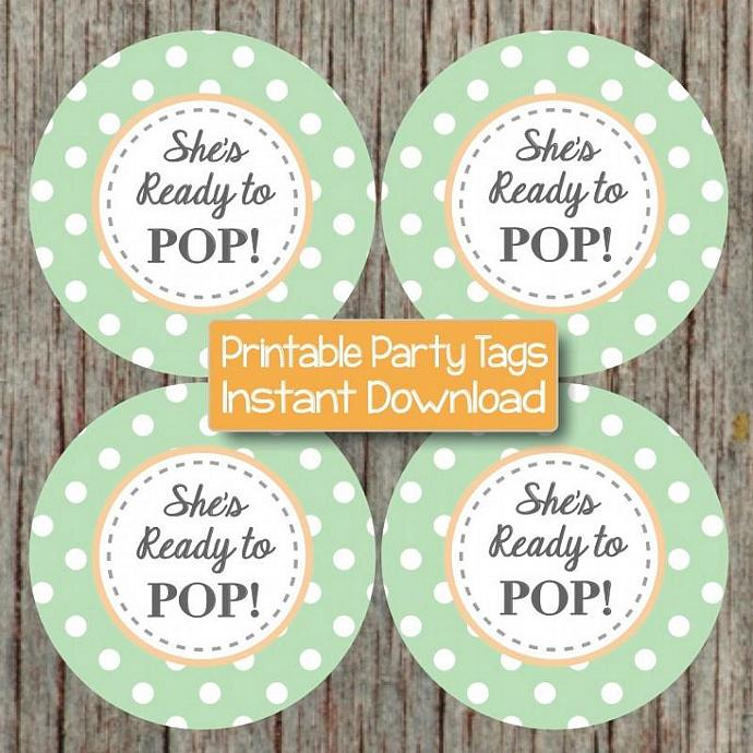 Shes Ready To Pop Sticker Printable By Bumpandbeyonddesigns On Zibbet
