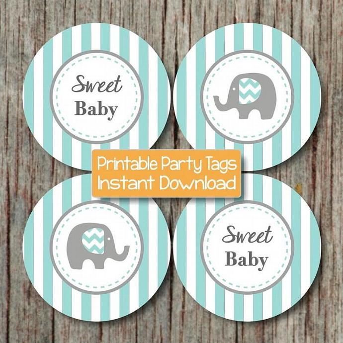 Sweet Baby Elephant Baby Shower Party by bumpandbeyonddesigns on