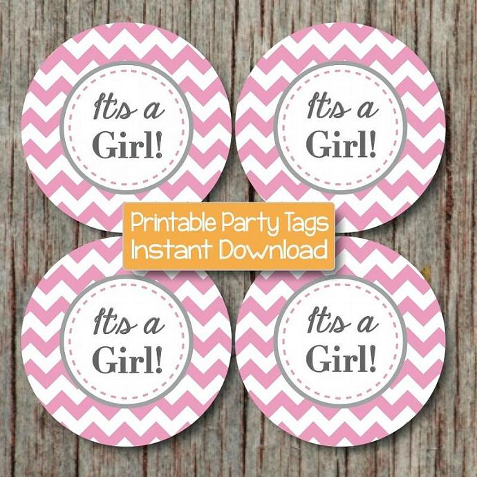 Its a Girl Favor Tag Sticker Baby Shower Decorations Printable Cupcake Toppers