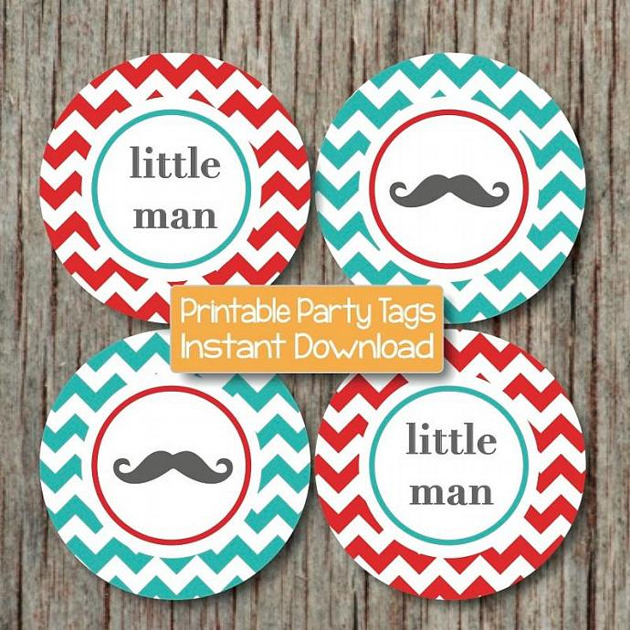 Digital Little Man Baby Shower Mustache Bash Cupcake Toppers Aqua Red Chevron