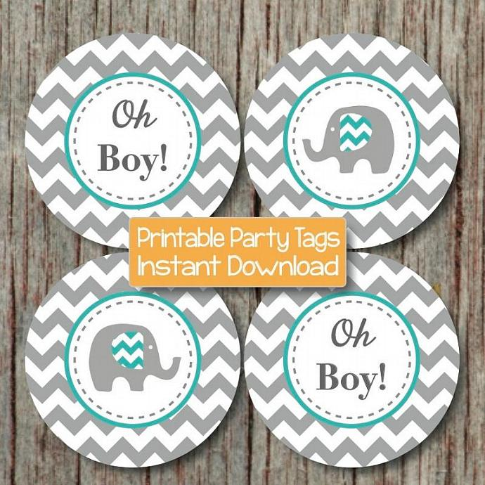 Aqua grey chevron elephant printable by bumpandbeyonddesigns on zibbet - Baby shower chevron decorations ...