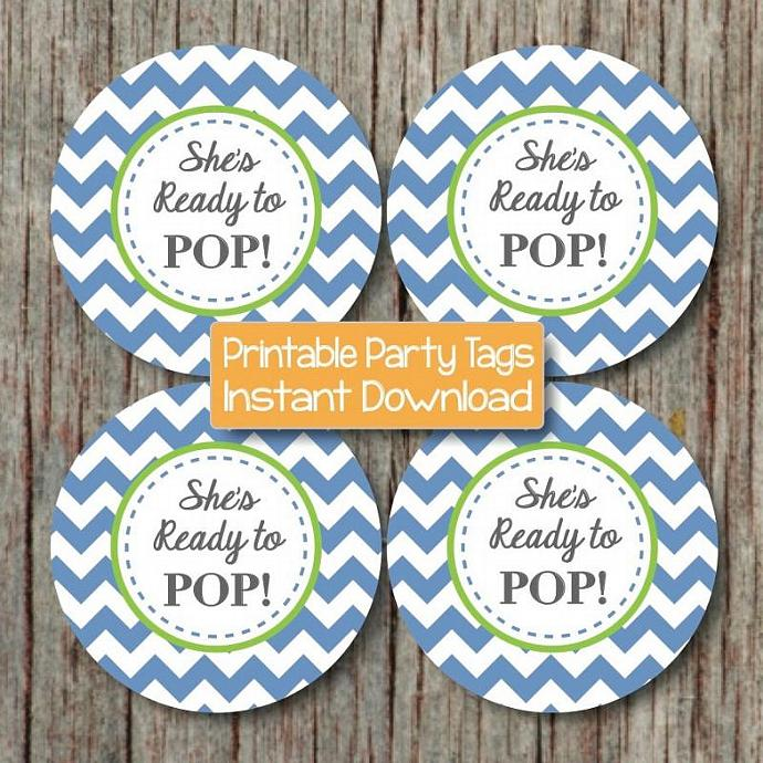 She's Ready to Pop Printable Sticker Favor Tags Cupcake Toppers Labels Baby