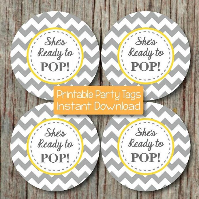 Baby Shower Printable Party Sheu0027s Ready To Pop Party Yellow Grey Favor  Labels