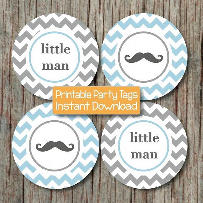 Mustache Baby Shower Little Man Party Cupcake Toppers Printable diy Cupcake