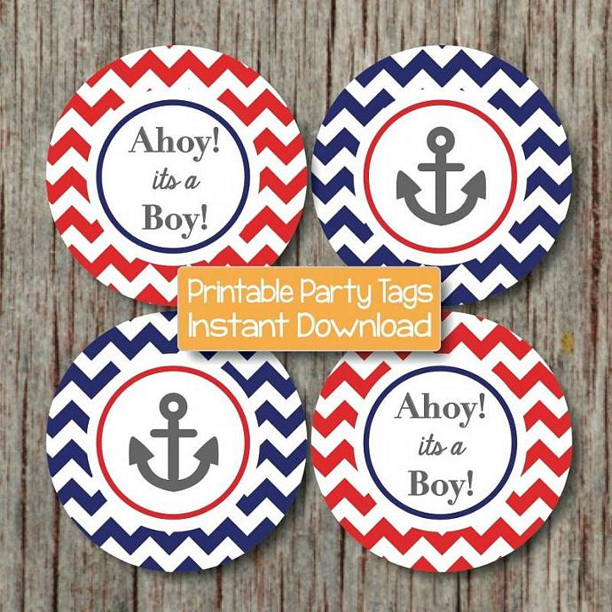 Nautical Baby Shower Decorations Anchor Ahoy Its A Boy Cupcake Toppers Navy  Blue