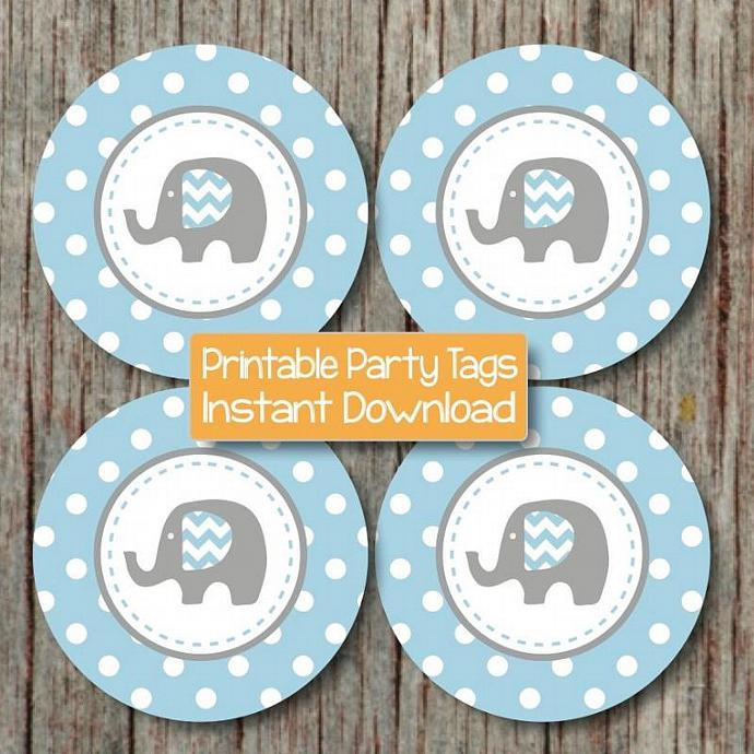 Elephant Baby Shower Decorations Cupcake Toppers Favor Tags Stickers Digital