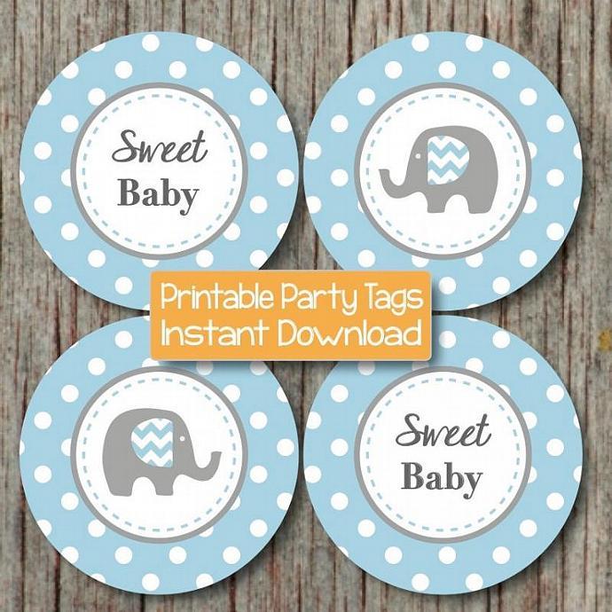 Baby Shower Decorations Elephant Cupcake Toppers Digital Powder Blue Grey