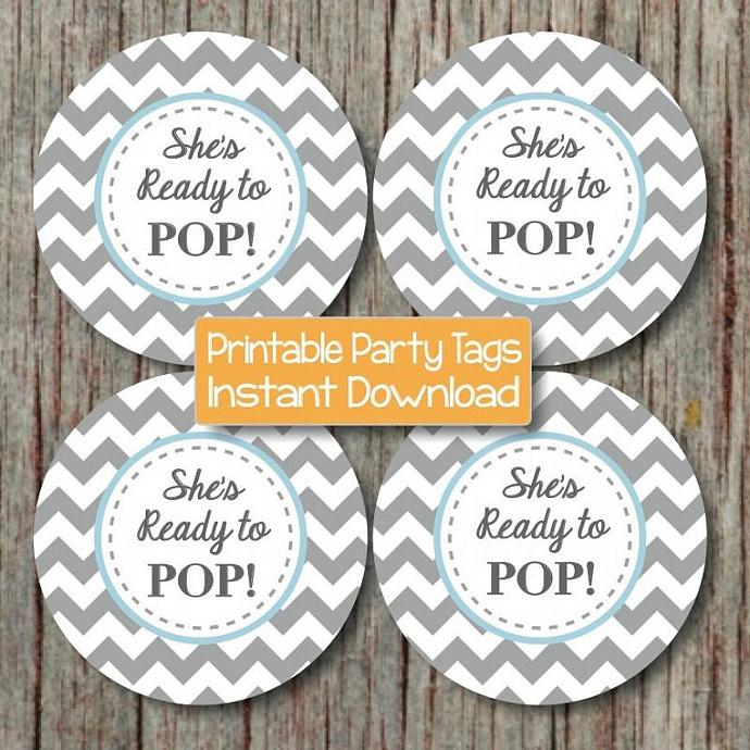 She's Ready to Pop Party Tags Powder Blue Grey Chevron Favor Labels Cupcake