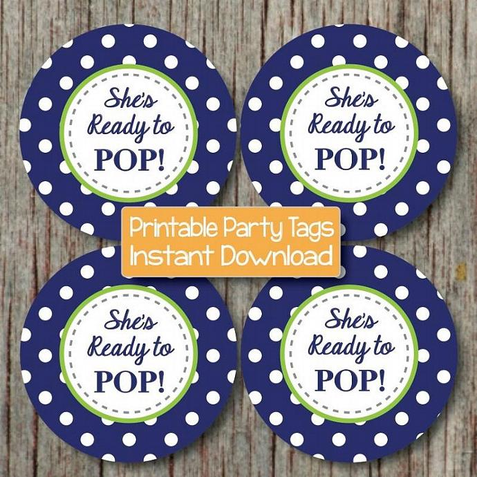 Baby Shower Decorations Printable Cupcake Toppers Navy Blue Lime Green She's
