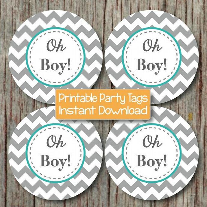 Oh Boy! Printable Baby Shower Cupcake Toppers Boy Baby Shower Favor Tags Digital