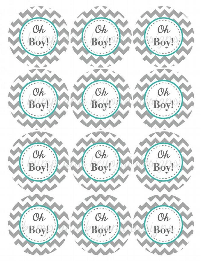 graphic regarding Printable Baby Shower Tags identified as Oh Boy! Printable Kid Shower Cupcake Toppers Boy Kid Shower Prefer Tags Electronic PDF Printable Get together Decorations Aqua Gray 187