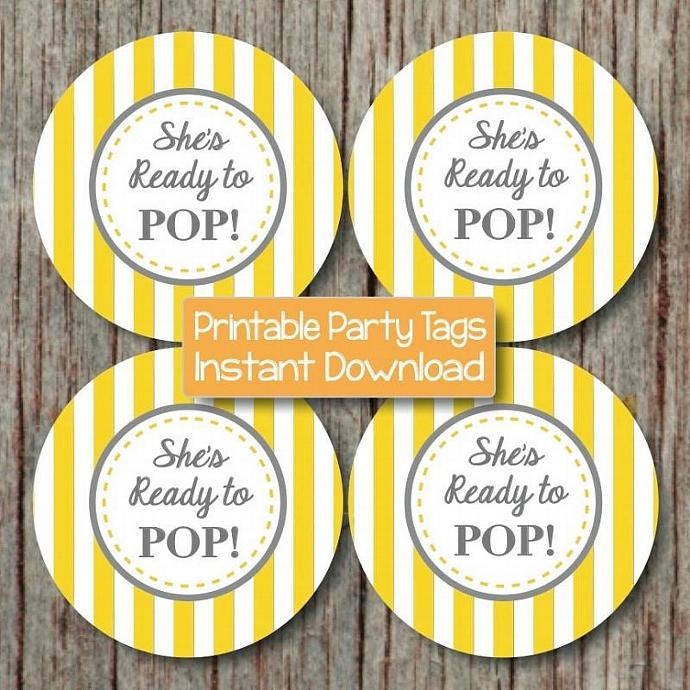 Yellow Grey She's Ready to Pop Favor Tags Baby Shower Cupcake Toppers Printable