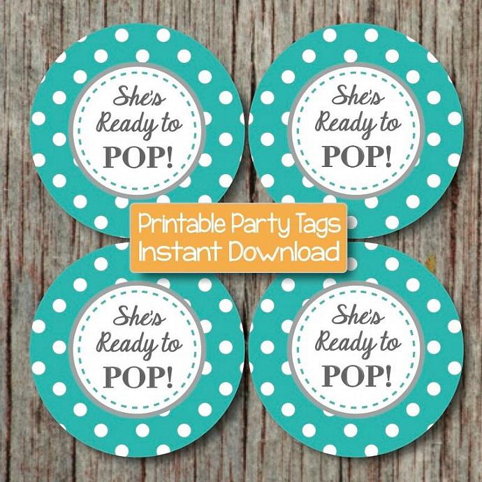 Digital aqua grey she 39 s ready to pop by for Ready to pop stickers template