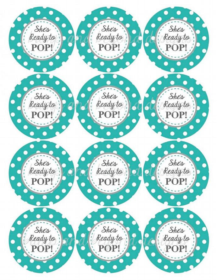 ... Baby Shower Printable Diy Favor. Digital Aqua Grey She S Ready To Pop  Pandbeyonddesigns
