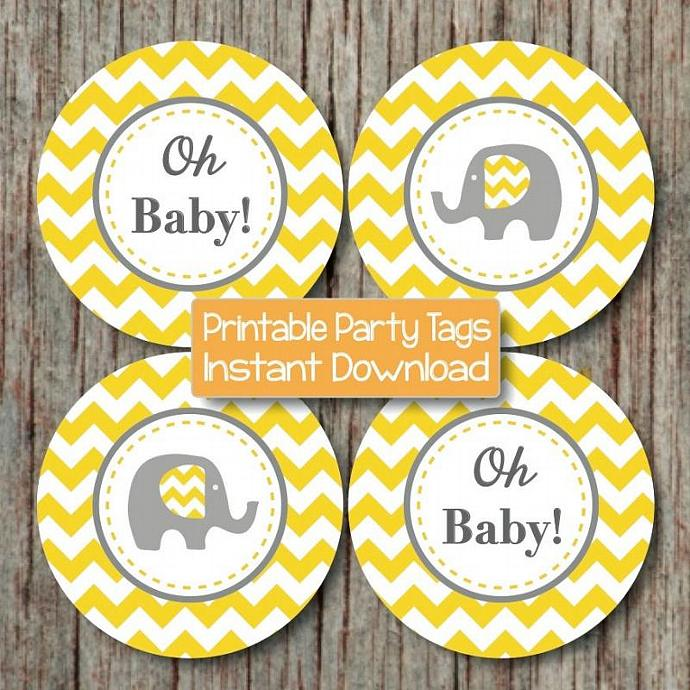 Yellow Grey Chevron Baby Shower Decorations Printable Party Supplies Cupcake