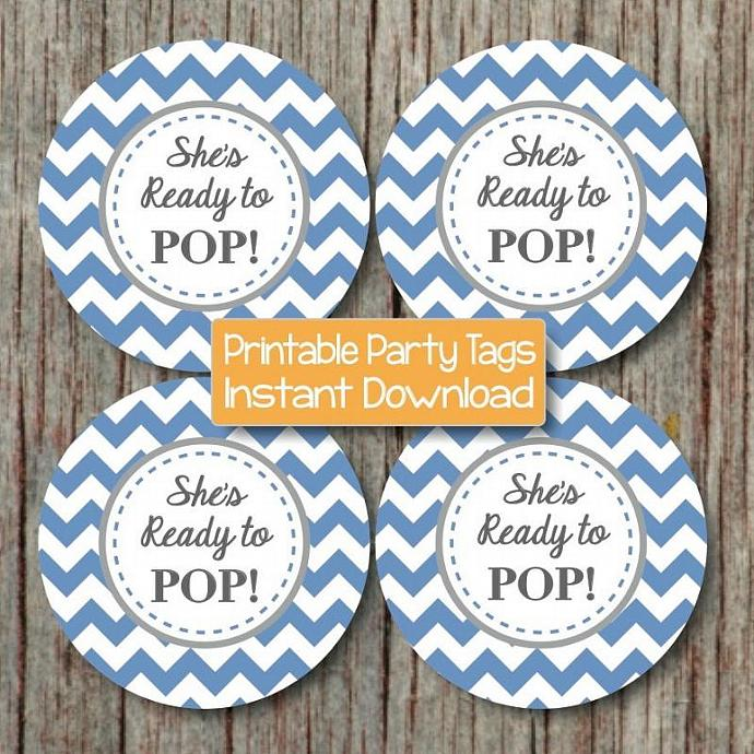 Shes Ready to Pop Tags Labels Stickers Boy Baby Shower Decorations Printable