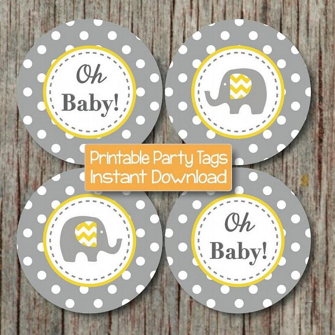 Elephant Cupcake Toppers Yellow Grey Baby Shower Favor Tags Printable Party diy