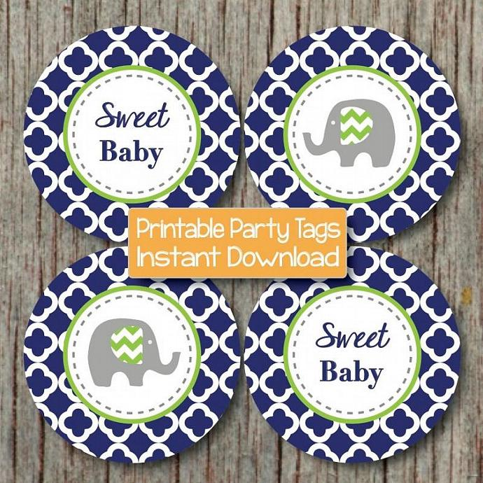 Baby Shower Decorations Prinable Cupcake Toppers Favor Tags diy Party Supplies
