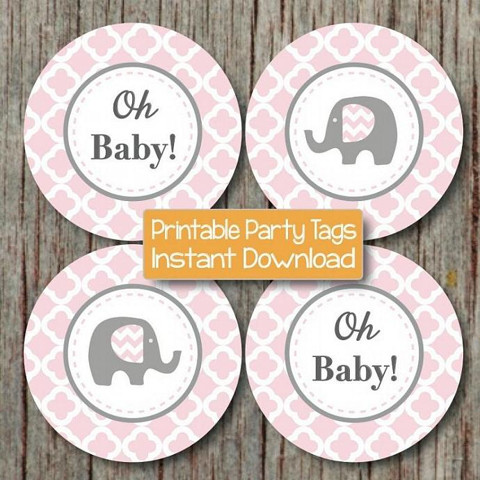 Elephant Cupcake Toppers Baby Shower diy Favor Tags Powder Pink Grey Quatrefoil