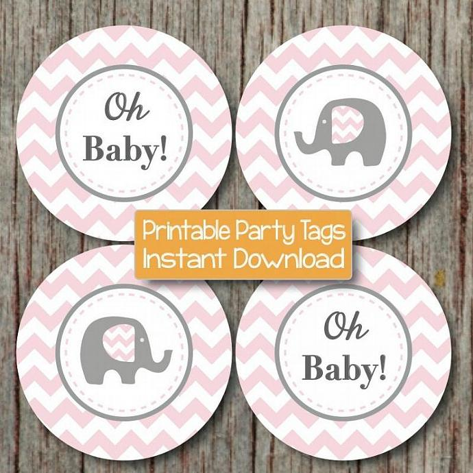 Digital Oh Baby! Cupcake Toppers Chevron Baby Shower Printable diy Elephant