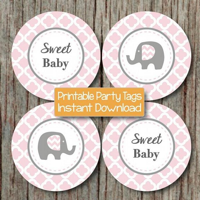 Powder Pink Grey Quatrefoil Elephant Baby Shower diy Cupcake Toppers Favor Tag