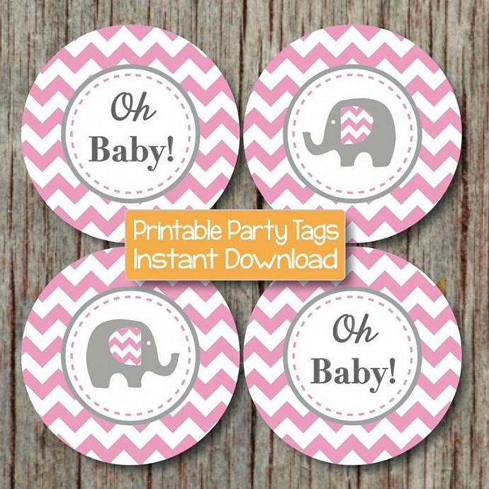DIY Baby Shower Tags Cupcake Toppers Gum Pink Grey Chevron Digital Elephant