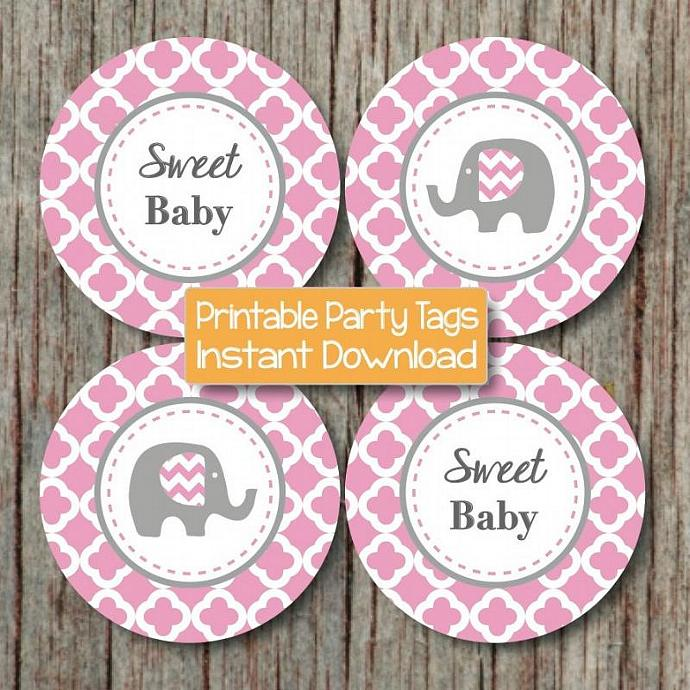 Gum Pink Grey Quatrefoil Baby Shower Cupcake Toppers Elephant Favor Tags