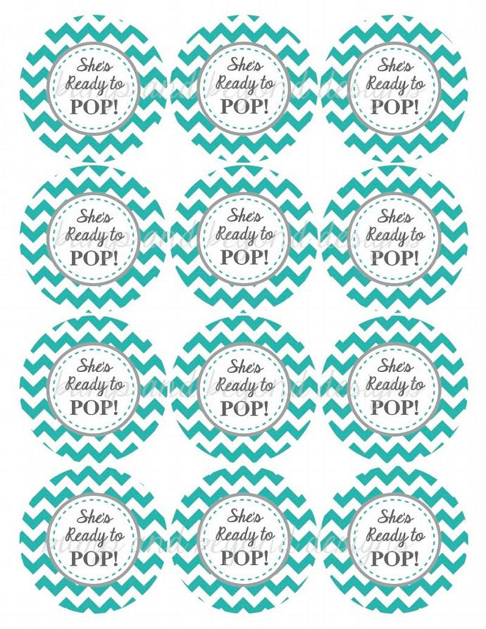 Aqua Grey Printable Baby Shower Cupcake Toppers She's Ready to Pop Digital diy