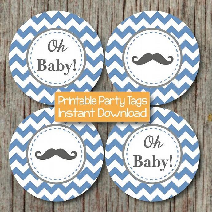 Little Man Tags Ocean Blue Grey Chevron Digital Mustache Baby Shower diy