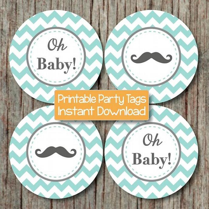 Oh Baby! Chevron Baby Shower Little Man Mustache Cupcake Toppers Tags Printable