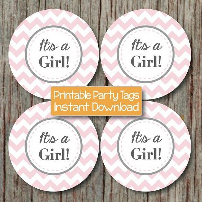 Printable Baby Shower Decorations Cupcake Toppers Favor Tags It's a Girl! Baby